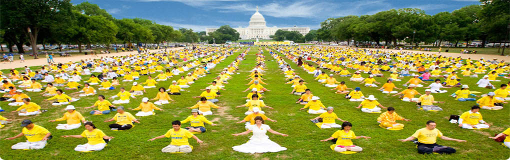 Thousands of Falun Gong Practitioners from around the world participated in practicing On the lawn of Washington Capitol Hill