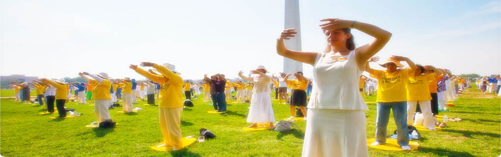 Thousands of Falun Gong Practitioners from around the world participated in practicing at Washington Monument State Park